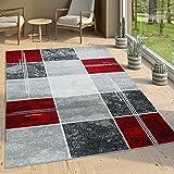 Paco Home Designer Teppich Kariert Kurzflor Marmor Optik Meliert Modern Grau Schwarz Rot, Grösse:200x280 cm
