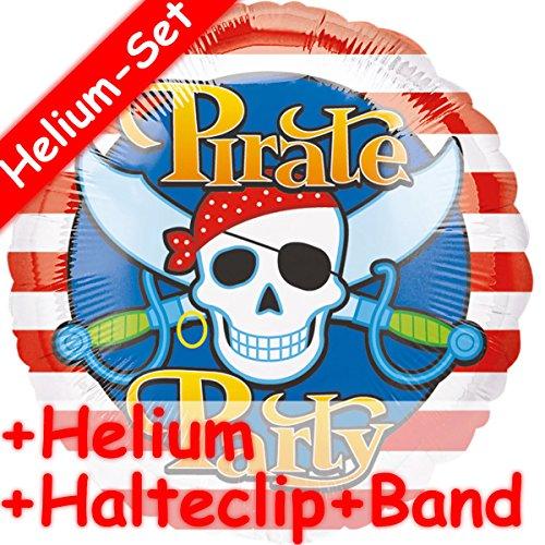 Folienballon Set * PIRATE PARTY + HELIUM FÜLLUNG + HALTE CLIP + BAND * // Aufgeblasen mit Ballongas // Kindergeburtstag Deko Geburtstag Folien Ballon Luftballon Pirat Piraten Kinderpiraten (Piraten Folien Ballon)