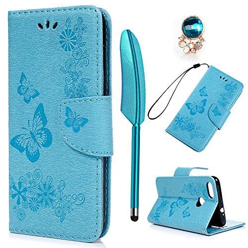 YOKIRIN Huawei Y6 Pro 2017 Lederhülle Hülle Case für Huawei Y6 Pro 2017 Flipcase Tasche Handyhülle Etui Großer Schmetterling PU Leder Schutzhülle Schale Kartenfächer Magnetverschluss Cover Blau