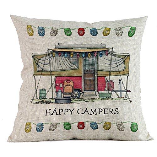 Harpily'Happy Camper'Baumwolle Leinen Kissenbezug Kissenbezüge Lendenkissen Sofa Kissenhuelle Haus...