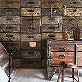 DUOCK Retro cassetto nostalgico scatola di legno antica cassetta delle lettere carta da parati ristorante bar negozio di abbigliamento cafe vento industriale wallpaper @ solo 2 color_Wallpaper