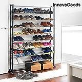 InnovaGoods Schuhschrank mit Platz für 50Paar Schuhe Stahl und ABS, schwarz, 140x 25x 91cm