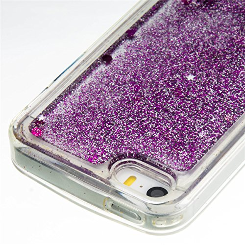 iPhone 5C Hülle, 5C Hülle, Gift_Source [ Silber & Crown Angel ] Glitzer Hülle , Liquid Case, Glitter Hülle Cool 3D Fließen Flüssig Bling Schwimmend Treibsand Stern Luxus Shiny Case Glanz Shiny Effekt  E1-Lila