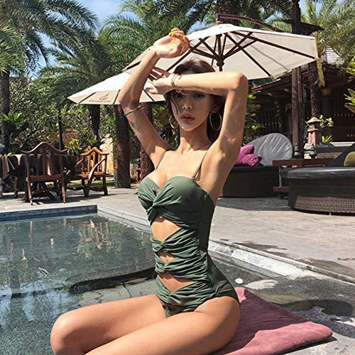 F-S-SHUAI Bañadores Mujer Traje De Baño Sexy Conectado, XL, Verde Militar