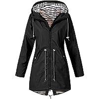 TIMEMEAN Womens Waterproof Long Sleeve Jacket Hooded Raincoat