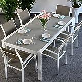Lazy Susan Viola Tavolo e 6sedie | allungabile 300cm Metallo Set di mobili da Giardino, Alluminio, White & Champagne, Milly Chairs