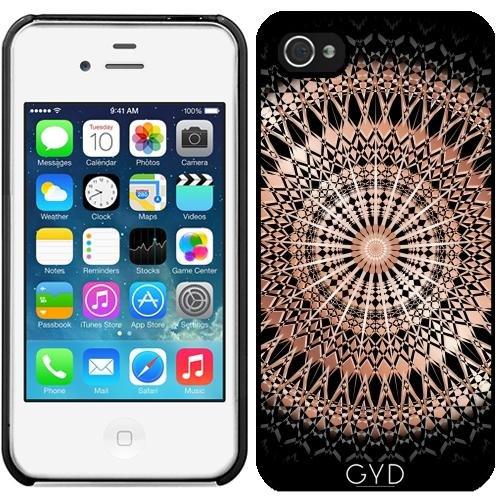 Leder Flip Case Tasche Hülle für Apple iPhone 6 Plus / 6S Plus - Roségold Schwarz Mandala by Nina Baydur Starre Kunststoff