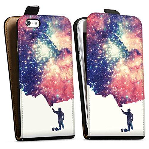 Apple iPhone X Silikon Hülle Case Schutzhülle Universum Space Grafik Downflip Tasche schwarz