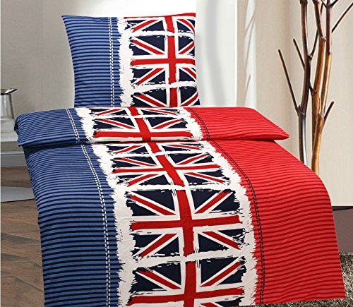 2-Teilig Microfaser Bettwäsche Set England Flagge mit Reißverschluss 1x 155x220 Bettbezug + 1x 80x80 Kissenbezug , Öko-Tex Standart 100