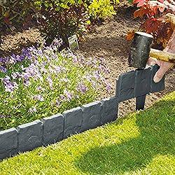 10unidades gris oscuro efecto piedra adoquinadas jardín césped planta frontera–simplemente martillo en