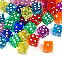 Idea Regalo - GWHOLE 40 Pezzi Dadi da Gioco 8 Traslucido Colori Dadi per enzi, Farkle, Yahtzee, Bunco or Insegnare i Matematici