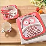 ZANTEC Set di stoviglie posate bambini Piatti ciotole per bambini Mug Spoon Fork Set di posate Prima infanzia oltre 6 mesi neonati 5PZ/set
