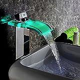 JiaYouJia Robinet, Mitigeur de Récipient Bassin Lavabo Vasque avec LED Cascade 4 Couleurs Variables pour Salle de Bain Moderne Chrome