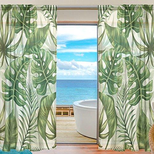 Sheer Voile Fenster Vorhang Tropical Leaf Blätter Muster bedruckt Polyester Material Stoff für Schlafzimmer Decor Home Tür Deko Küche Wohnzimmer 2Felder 198,1x 139,7cm -