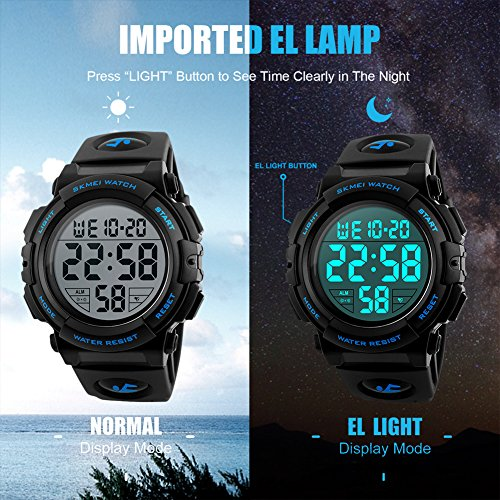 fb45241a6 Mens Digital Sports Watch, Outdoors Running 5ATM Waterproof Military Watches,  Cool Sport Large Face Wrist Led Watch with Alarm for Men
