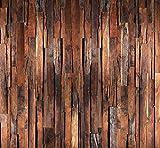 Fototapete Holz 274,5 x 254 cm 3D Holzoptik Rustikal Vintage Braun Bretter Leisten Holzwand Tapete inklusiv Kleister livingdecoration
