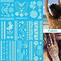 White Henna Temporary Tattoo Stickers - 9 Sheets Lace Mehndi Temporary Tattoos for Maverick Women Teens Girls,Flash Tattoo for Festival Wedding Party,Mehndi,Boho Waterproof Fake Body Tattoos