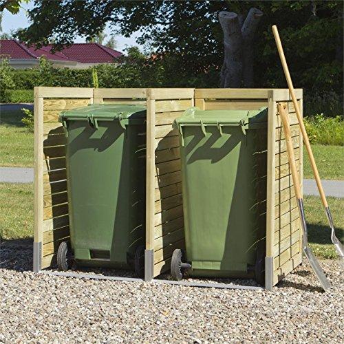 *Mülltonnenverkleidung / Sichtschutz für Mülltonnen (2 Mülltonnen) – aus KDI Nadelholz mit FSC Logo*