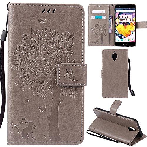 Ooboom® iPhone X Coque Motif Arbre Chat PU Cuir Flip Housse Étui Cover Case Wallet Portefeuille Support avec Porte-cartes pour iPhone X - Bleu Gris