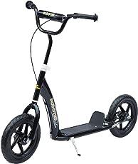 Homcom Kinderroller Scooter Tretroller Cityroller Kinder Roller Kickboard Schwarz L120 x B52 x H75-86 cm