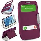 Bolso OneFlow para funda Samsung Galaxy S3 / S3 Neo Cubierta con ventana | Estuche Flip Case Funda móvil plegable | Bolso móvil funda protectora accesorios móvil protección paragolpes en Indego-Violet