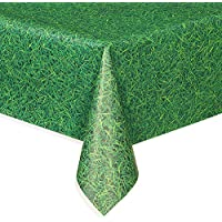 Plastic Green Grass Patterned Tablecloth, 9ft x 4.5ftP