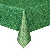 Plastic Green Grass Patterned Tablecloth, 9ft x 4.5ft