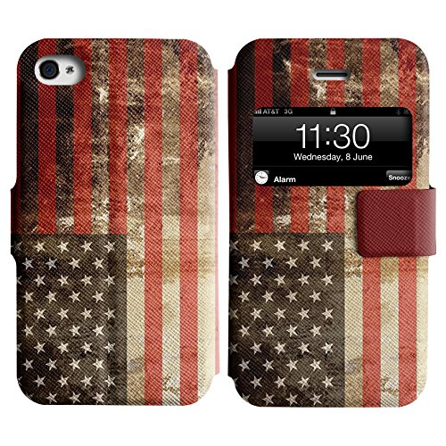 Graphic4You Vintage Uralt Flagge Von Vereinigte Staaten Von Amerika Amerikanisch Design Leder Schützende Display-Klappe Brieftasche Hülle Case Tasche Schutzhülle für Apple iPhone 4 und 4S Vereinigte Staaten Von Amerika Amerikanisch