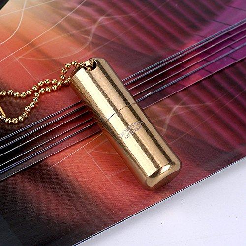 Das kleinste Kerosin-Feuerzeug der Welt - H&oumlhe: 2,5&nbspcm, &Phi 1,3&nbspcm - Kapsel-Feuerzeug, tragbar, aus Metall, Miniatur, Alltagsgegenstand, wasserdicht (Kraftstoff nicht im Lieferumfang enthalten) -, 620 Gold