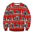 TWBB Damen Oberteile,Winter Pullover O-Ausschnitt Blusen Weihnachtsmann Drucken Langarm-Shirt