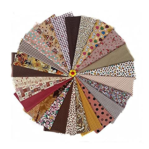 ROSENICE Tissu de coton matelassage tissu tricot faisceaux de tissu Couture tissus Patchwork bricolage Artisanat, 25pcs