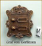 Graf von Gerlitzen Antik Messing Tür Klingel 2 Türklingel Klingelschild Klingelplatte Jugendstil K79A