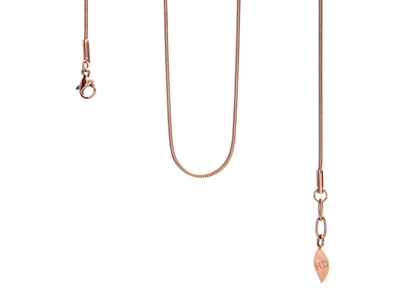 Elegante biegsame Halskette im klassischen Schlangendesign, 18 K IP rosevergoldet Schlangen-Halskette aus Edelstahl mit IP 18 K Rosegold-Beschichtung, Länge 100 cm