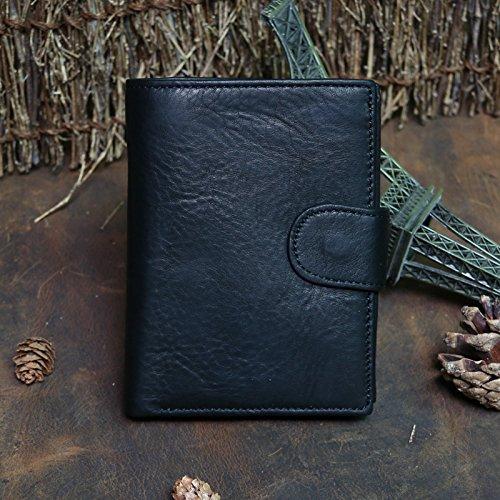 Die Männer Männer Wallet Geldbörse Portemonnaie achtzig Prozent aus männlichen leder kurze vertikale Rindsleder Tasche öl Wachs, Claret Black