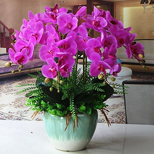Jnseaol Kunstblumen Orchidee Keramiktopf DIY Hochzeit Hotel Party Küche Home Fensterbrett Eine Große Verzierung Muttertag Geschenk Lila -03