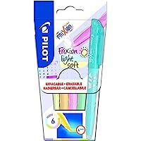 PILOT FriXion Light Soft Lot de 6 surligneurs effaçables Rose pastel, jaune, violet, bleu, orange, vert