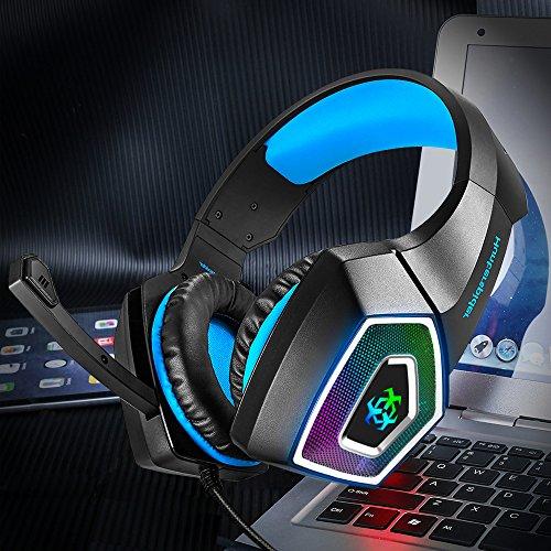 Gaming Headset für PS4 Xbox One PC,Stereo Sound Gaming Kopfhörer mit Mikrofon für Laptop Mac Tablet (Blau) - 7
