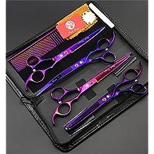 Sharp Edge mascotas Peluquería Canina de reducción del pelo tijeras de corte y curvado herramienta Tijeras 6 pedazos fijados (púrpura)