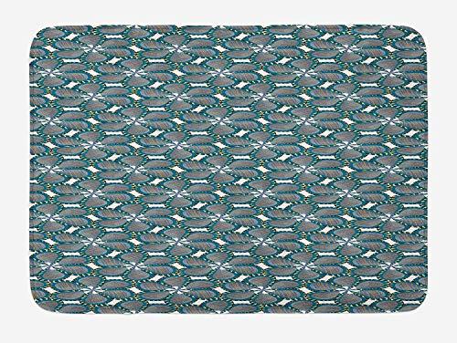 tgyew Pinwheel Bath Mat, Digital Spring Flower Petals Blossom with Swirled Leaves Print, Plush Bathroom Decor Mat with Non Slip Backing, 23.6 W X 15.7 W Inches, Petrol Blue Orange and Yellow (Lane Blossom)
