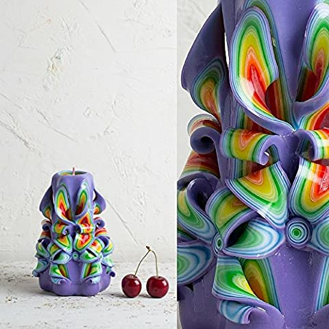 Candle - Carved Handmade Puple Rainbow - Mother's Day Gifts Ideas - Home Decoration - EveCandles
