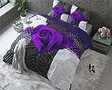 Bettwäsche Sleeptime Garden Rose 2, 240cm x 220cm, Mit 2 Kissenbezüge 60cm x 70cm, Lila