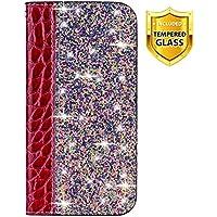 Boloker Funda para Xiaomi Mi CC9 / Mi A3 Lite [con Protector Pantalla],Brilla Glitter Carcasa Piel PU Billetera Soporte Plegable con Ranuras Tarjetas Cierre [Magnético] (Rojo)