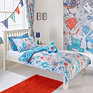 """Riva Paoletti Kids Robot Single Duvet Set - 1 x Pillowcase Included - Grey and Blue - Reversible Design - Machine Washable - 137 x 200cm (54"""" x 79"""" inches) - Designed in the UK"""
