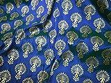 Banarasi Brokat Stoff in Blau Gold Brautkleid Brautkleid