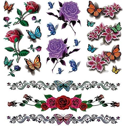 Evtech(tm) 4 del estilo del cordón flor de las flores florales animales mariposa Peony Rose Lotus China Rose colorida 3D tatuajes temporales club nocturno impermeable Tatuajes Transferencia