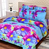 IWS 3D Luxury Printed 144 TC Polycotton Double Bedsheet with 2 Pillow Covers - Multicolour