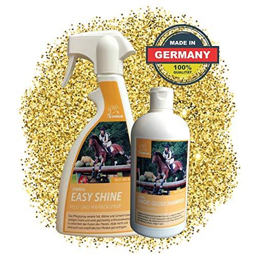 EMMA ⭐ Mähnenspray für Pferde I Schweifspray I SPARSET I Pferdepflege I Plus Pferdeshampoo Kamille I Glanzspray 2 X 500 ml