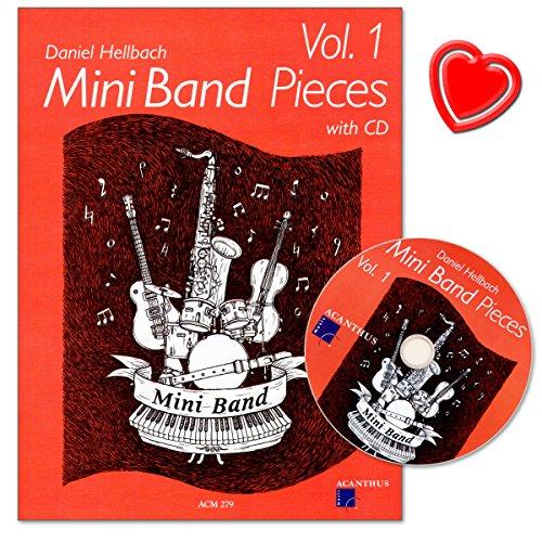 Mini Band Pieces Band 1 - vier einfache Stücke für gemischte Ensembles - Partitur und Stimmen mit CD und bunter herzförmiger Notenklammer