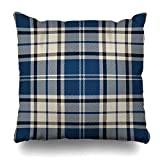 Monicago Zierkissenbezüge, Clan Beige Black Blue Tartan Plaid Scottish Pattern Thread Abstract Checkered Culture Detailed Ethnic Pillowcase Square Size 18 x 18 Inches Zippered Home Decor Cushion Case