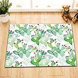 aquarell grün Kaktus lila Badematte Dusche Teppich Tür Matte Badzubehör 60 Länge x 40 Breite cm